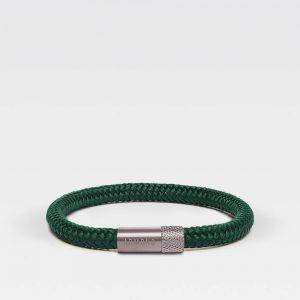 Donkergroene dunne armband met zilveren stalen sluiting