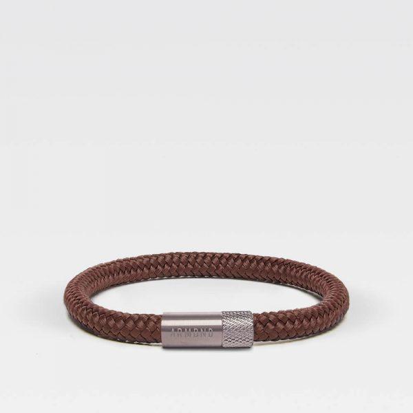Bruine dunne armband met zilveren stalen sluiting