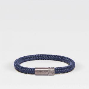 Blauwe dunne armband met zilveren sluiting