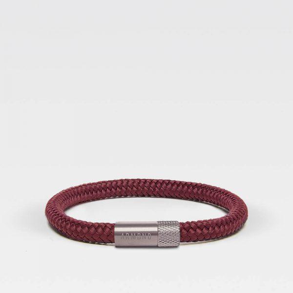 Donkerrode dunne armband met rosé gouden sluiting