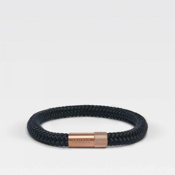 Zwarte dunne armband met rosé gouden sluiting