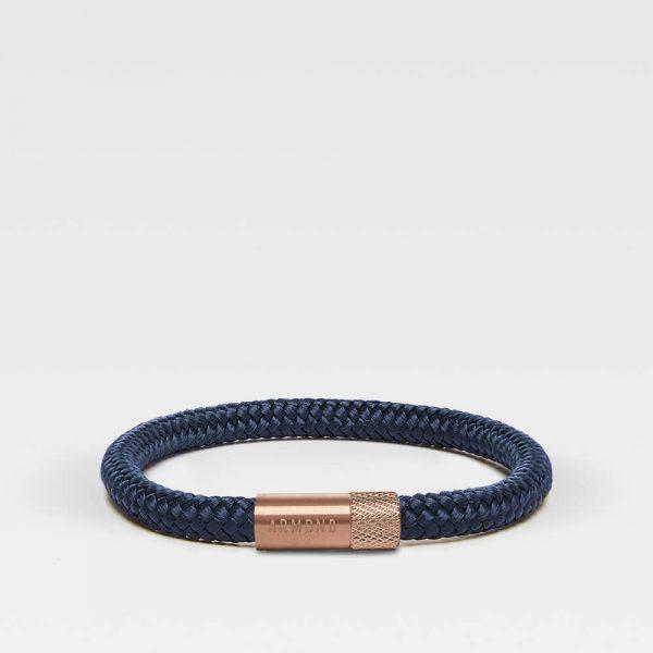 Donkerblauwe dunne armband met rosé gouden sluiting