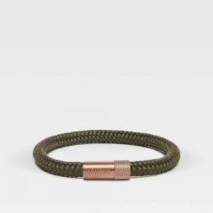 Groene dunne armband met rosé gouden sluiting