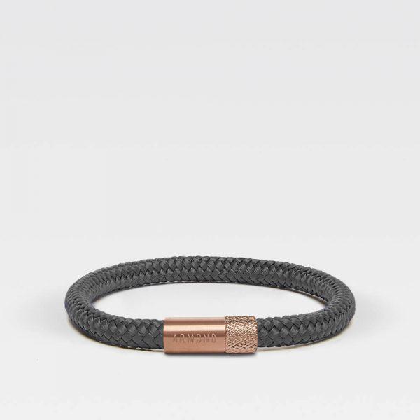 Donkergrijze dunne armband met rosé gouden sluiting