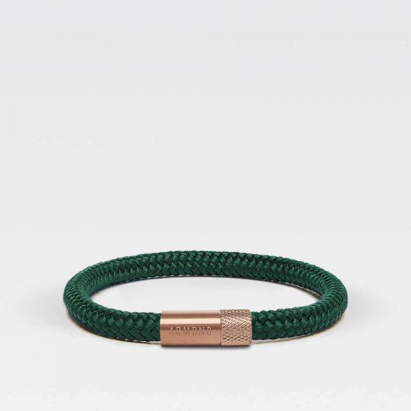 Donkergroene dunne armbanden met rosé gouden sluiting
