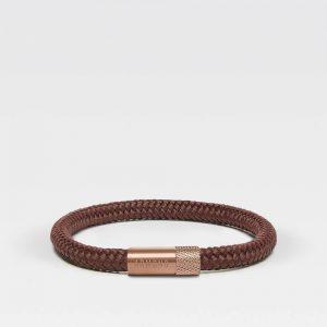 Bruine dunne armband met rosé gouden sluiting