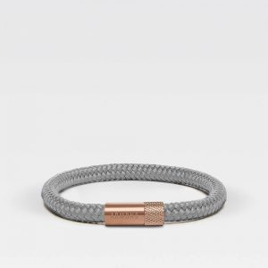 Grijze dunne armband met rosé gouden sluiting