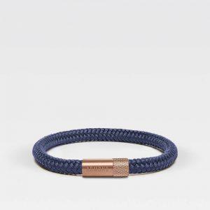 Blauw dunne armband met rosé gouden stalen sluiting